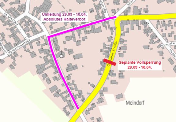 29.03.-10.04.: Vollsperrung der Geislarer Straße – Umleitung Bahnhofstraße / Liebfrauenstraße